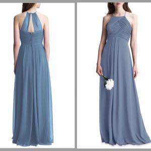Levkoff Chiffon Bridesmaid Dress Slate Style 7001